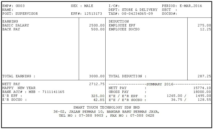 Payslip Rm228 Per Boxes Smart Touch Technology